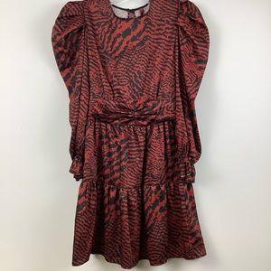 NWT Imperial Puff Sleeve Peplum Hem Dress in Red Black Multi